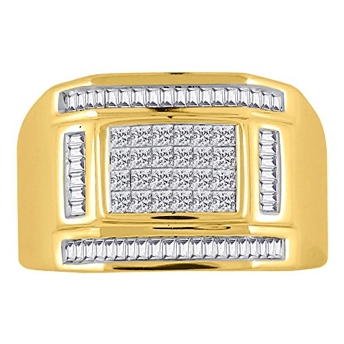 KATARINA Baguette and Princess Cut Diamond Men's Ring in 14K Yellow Gold (1 cttw, G-H, VS2-SI1) (Size-12)