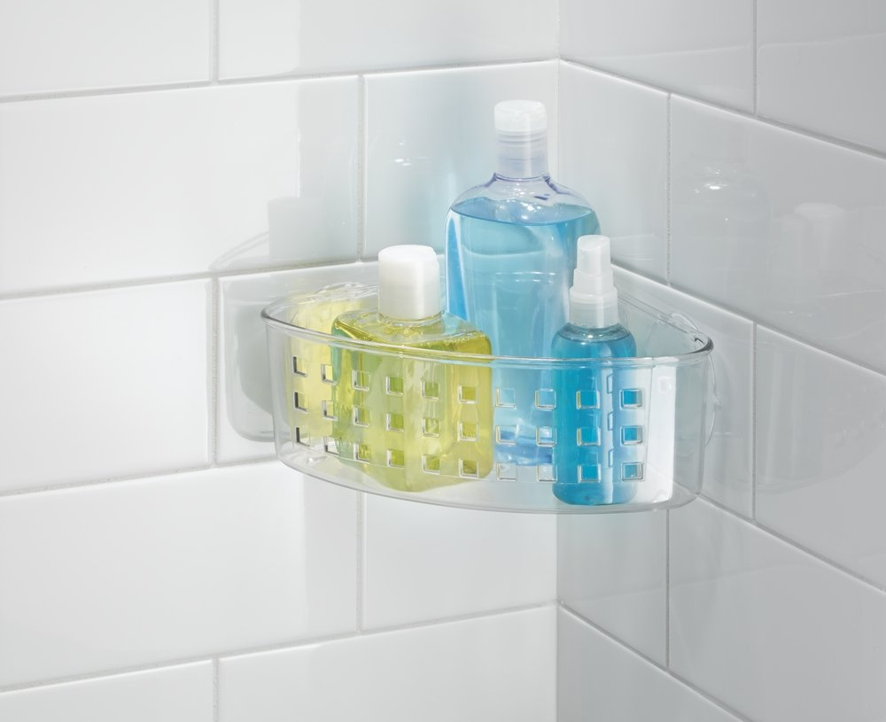 mDesign Bathroom Plastic Shower Suction Corner Basket Storage ...