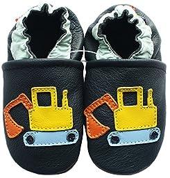 Carozoo Baby Boy Soft Sole Leather Shoes Excavator Dark Blue 7-8y