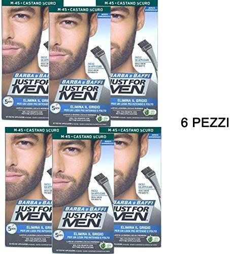 Just For Men - Barba y bigote, color tinte permanente con pincel, sin amoniaco, castaño oscuro M 45, gel colorante, 6 unidades