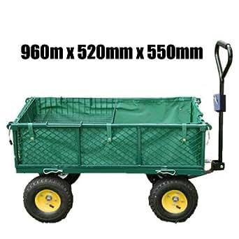 FoxHunter - Carro de transporte de jardín (4 ruedas neumáticas, capacidad de carga: 300 Kg, 96 x 52 x 55 cm)