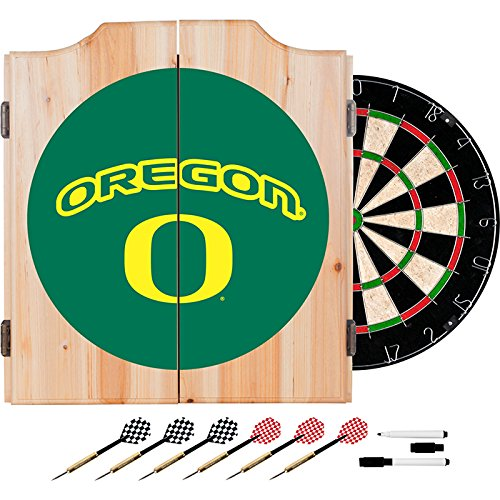 University of Oregon Deluxe Solid Wood Cabinet Complete Dart Set - Officially Licensed! by TMG