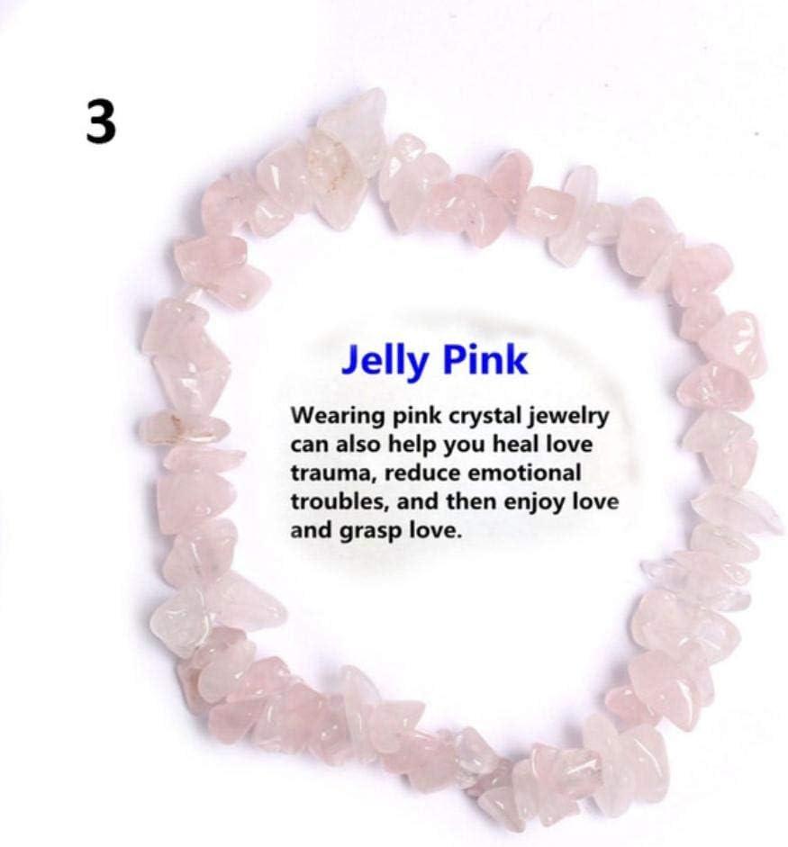 XCVB Pulsera Pulsera de Cuentas de microprocesador de Piedra de Cristal de Cuarzo Rosa Natural Pulseras con Cuentas elásticas para Mujer, 3
