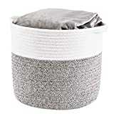 HITSLAM Woven Rope Basket with Handles, Collapsible Laundry Basket, Cotton Storage Basket for Towels Blanket Toys (Gray) - L