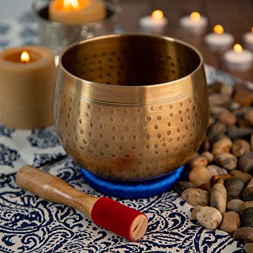 Meditative Brass Singing Bowl with Mallet and Cushion - Tibetan Sound Bowl for Energy Healing, Mindfulness, Grounding, Zen, Meditation - Exquisite, Unique Home Decor and Gift Sets by Telsha (Image #7)