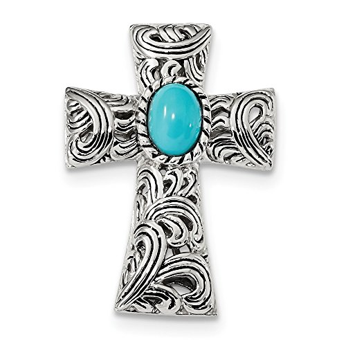 (925 Sterling Silver Reconstituted Blue Turquoise Cabochon Slide Necklace Pendant Charm Religious Cross Latin Fine Jewelry Gifts For Women For Her)