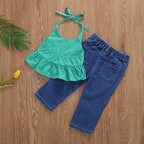LEXUPE Kleinkind Baby M/ädchen Solid Tops T-Shirt Leopardenmuster Flare Hosen Outfits Sets