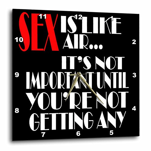 3dRose RinaPiro Sex Sayings - Sex is like air... its not important until youre not getting any. - 10x10 Wall Clock (dpp_272749_1) by 3dRose