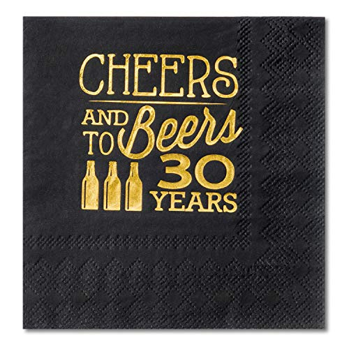 30th Birthday Beverage Napkins - Crisky 30th Birthday Cocktail Napkins Black and Gold, Beverages Napkins for 30th Birthday Anniversary Decorations Cheers and Beers to 30 Years, 50 PCS, 3-Ply