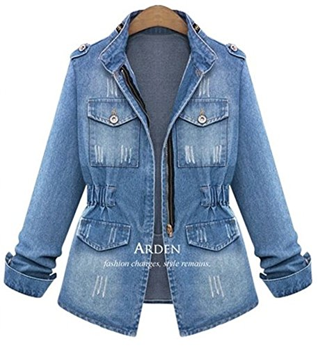 QZUnique Women Denim Jacket Casual Slim Long Sleeve Jean Jacket Plus Size Girls Short Denim Coat Outwear US - International Time Shipping Letter Usps