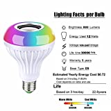 LED Bluetooth smart Music Light Bulb RGB Color E26 led light bulb with Bluetooth Speaker RGB Changing Color Music Lamp Built-in Audio Speaker with Remote Control for Home, Bedroom, Party Decoration