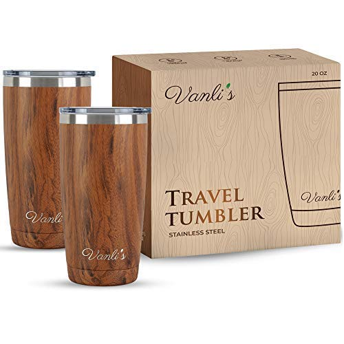 Vanli's Stainless Steel Insulated Beer Tumblers With Lids | Reusable Thermos Coffee Mugs | Walnut Wood Grain Tumbler 4 People on-the-Go | Great for Coffee, Tea & Cold Drinks. 20 oz (Beer Mug Travel)
