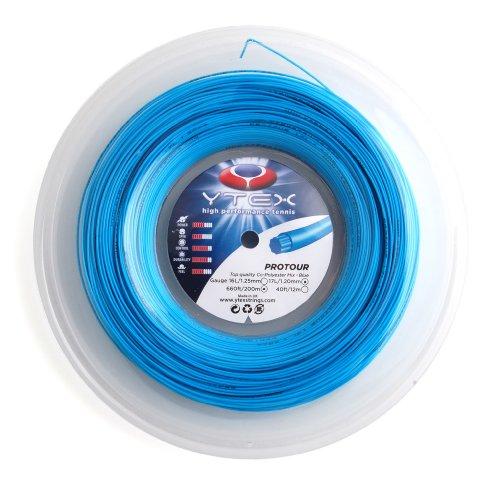 YTEX Protour Tennis Racket String (Gauge 17L-1.20mm), Blue, 40-Feet/12m