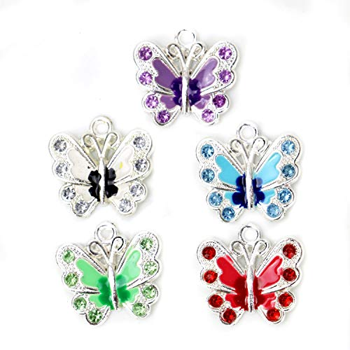 (HUELE 20Pcs Silver Plated Butterfly Enamel Charm Beads Pendants for Jewelry Making DIY Crafting)