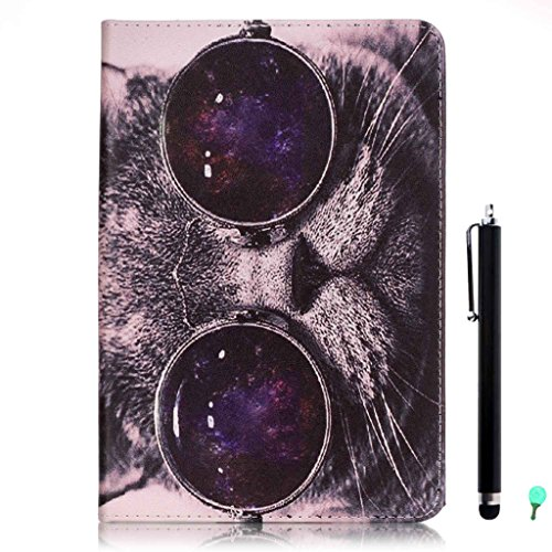 iPad Air/Air2 Case, iPad 5/6 Case, fengus Ultra Slim PU Leather Cover Stand Flip Case Cover with Cute Pattern Design Back Shell for Apple iPad Air/iPad Air 2 +Stylus+Dust plug-Glasses cat