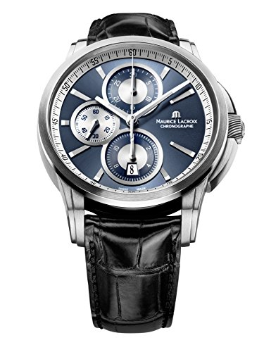 Maurice Lacroix Pt6188-Ss001-430 Men's Pontos Auto Chrono Black Genuine Crocodile Dark Blue Dial Ss Watch