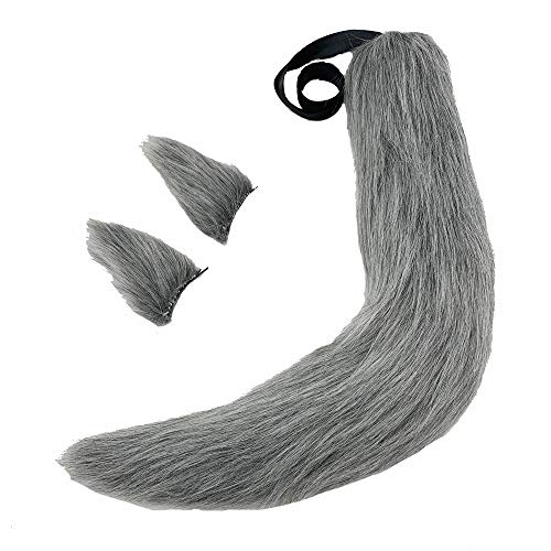 Fox Plush Tails Clip Ears Anime Spice Wolf Halloween Cosplay Props Children Toys (Grey) ()