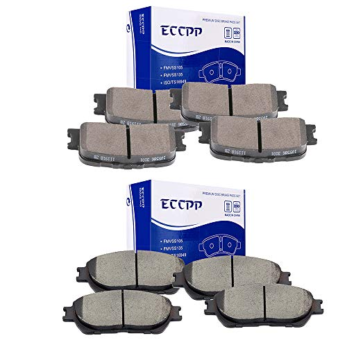 ECCPP Brake Pads, 8pcs Front Rear Ceramic Disc Brake Pads Kits fit for 2002-2003 Lexus ES300,2004 2005 2006 Lexus ES330,2005-2006 Toyota -
