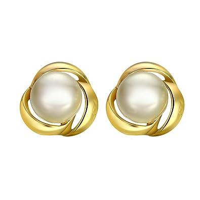 ead26075d3d5 KNSAM - Pendientes Mujer Cristal Redondo Perla Oro Bañado con Plata 925 Aretes  para Novias  Amazon.es  Joyería