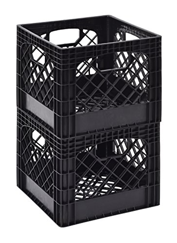 Muscle Rack MK131311-B2PK 11'' x 13'' x 13'' Black Milk Crate (Pack of 2) by Muscle Rack
