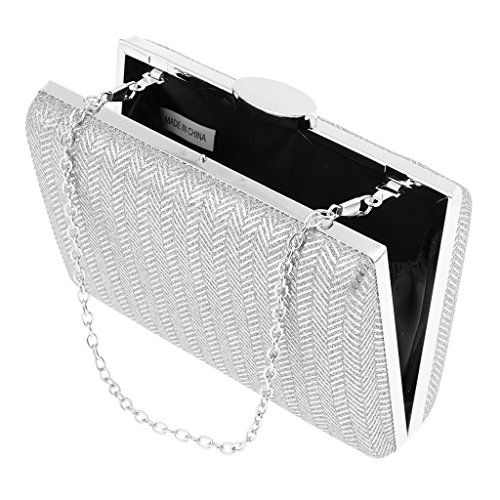 Party Accessories Handbag as Evening Clutch Women Black Fenteer Bridesmaid Sliver Bridal described Wedding Bag UqXSfqwnx6