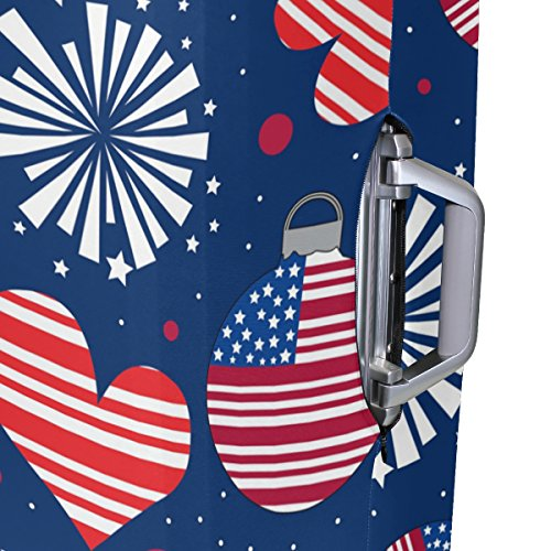 American USA Heart Love Striped Stars Red Navy Suitcase Luggage Cover Protector for Travel Kids Men Women by ALAZA (Image #4)