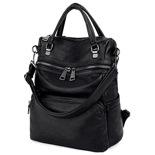 LARGE SIZE-UTO Women Backpack Purse PU Washed Leather Ladies Rucksack Shoulder Bag Black