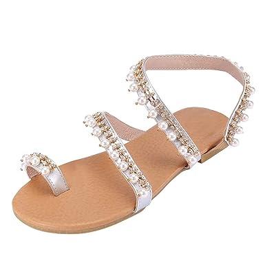 LuckyGirls Femme Été Plat Orteil Ring Perle Élégant Robe Confort Cuir  Sandales Chaussures Plat Mode Occasionnel 078f1c3c130e