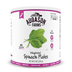 Augason Farms Dehydrated Spinach Flakes #10 Can, 8 oz