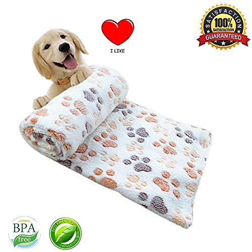 White Dog Blanket (Pet Dog Blanket Fleece Fabric Puppy Baby Cat Soft Blankets Throw Comfortable For Sleep Mat Couch Sofa Doggy Warm Bed with Paw Prints)