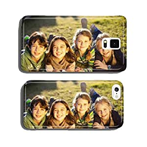 Children lying on grass smiling cell phone cover case Samsung S6