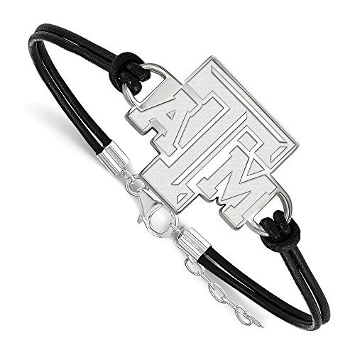 925 Sterling Silver Officially Licensed Texas A&M University College Leather Bracelet Large Center (7 in) by Unknown