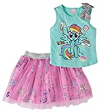 My Pony Little Tutu Outfits for Girls Tulle Skirt and Bow Matching Shirt 2 pc