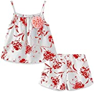 LittleSpring Little Girls' Clothing Shorts Set Fl