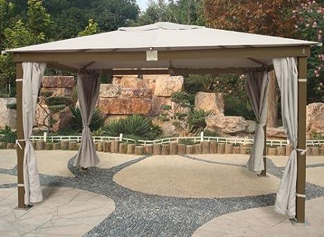 Cenador con estructura de madera acabado en color marrón y 3 x 4 ...