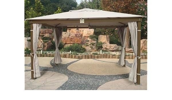 Cenador con estructura de madera acabado en color marrón y 3 x 4 mt Mod. Santorini Cortina de paneles, color gris: Amazon.es: Jardín