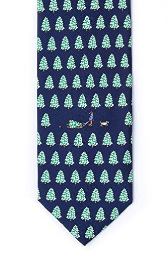 Bringing Home The Tree Navy Blue Silk Tie (Novelty Blue Alynn Silk Ties)