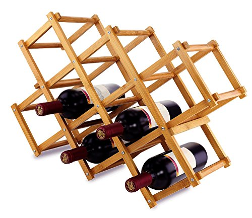 Foldable Wood Wine Rack Wine Holder Storage Display Stand Wood 10-Bottle Wine Rack (Original Bamboo Color) (Bamboo Folding Rack Wine)