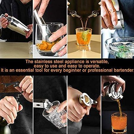 A/N Juego para Cócteles,550ml Martini Shaker con Set de cócteles Accesorios 12 Piezas de Herramientas Profesionales de Acero Inoxidable de Barra (Plata, 550ML)