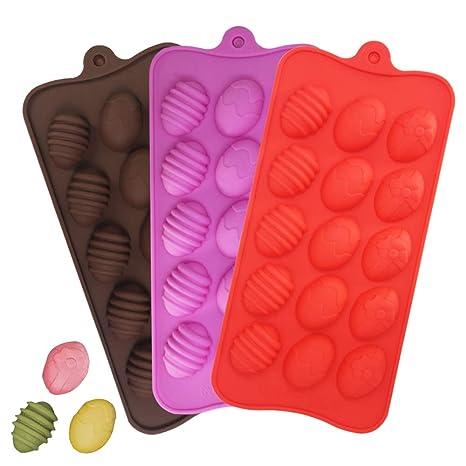 YuCool - Moldes de silicona para huevos de Pascua para chocolate, 3 unidades, con