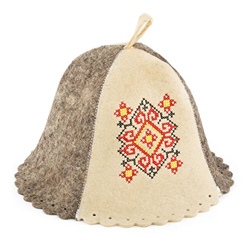 Eden Ukraine Wool Sauna Hat Embroidered