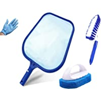 kungfu Mall Hot Tub Cleaning Kit Accessories Contain Pool Net, Paddling Pool Brush and Scrubber Pad, with a Pair Gloves as a Gift, All in 1
