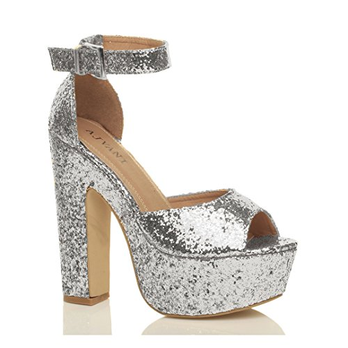 Ajvani Womens Ladies high Heel Platform Ankle Strap peep Toe Shoes Party Sandals Size Silver Glitter join6