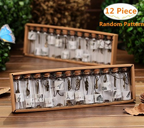 Carnatory 12 Piece/Set Clear Transparent Vintage Retro Wishing Bottles, Mini Glass Jars with Cork Stoppers and Antique Bronze Metal Pendants Inside for Birthday Gift Wedding Party Favors