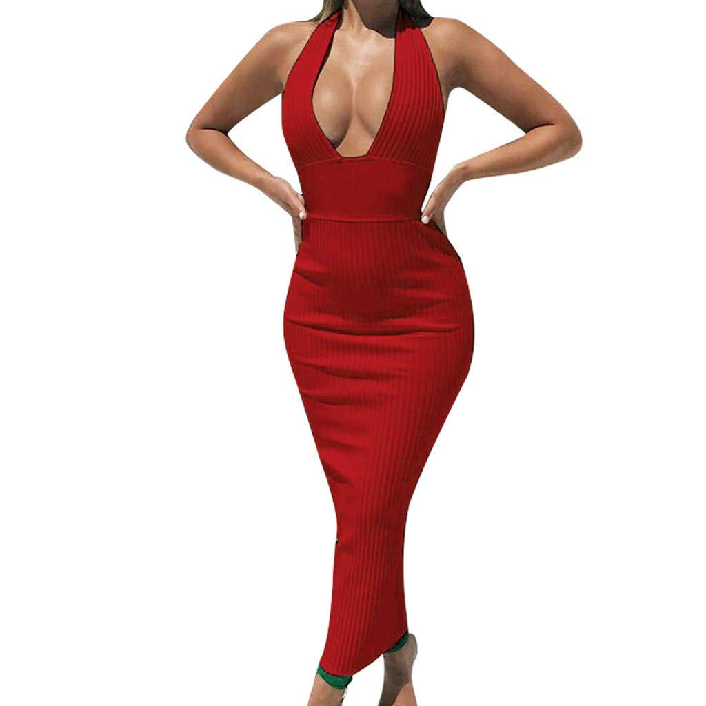 FarJing Women's Sexy Deep V-Neck Backless Tight-Fitting Hollow-Out Night Club Dress(S,Red