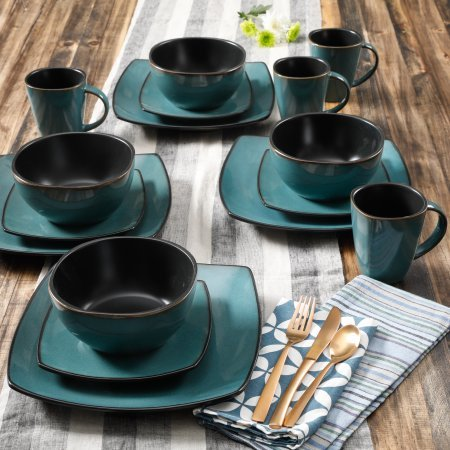 Contemporary Soho Lounge Square Stoneware Geometric Pattern 16-piece Dinnerware Set (teal) (Dinner Plates Teal)