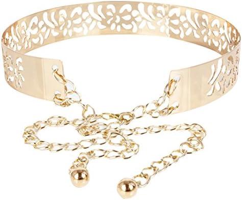 Vertily Metal Chain Dress Wedding Belt Gold Sweater Belt Decorated Skinny Waistband Womens Belt