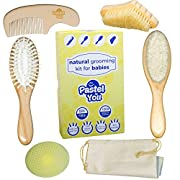 6 Piece Gentle Natural Wood Hair & Nails Brushing Set -Baby Grooming Kit - Nail Cleaning, detangling, Massage & Goat Hair Brush, Bath Brush, Comb, Cradle Cap Solution + Cotton Storage Bag