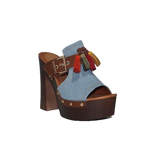 d344c746592 ENCOR ENCOR Zueco Jean A009 Zapatos Zuecos Tacón Alto Plataforma Madera  Baquero Cómodas Casuales Sandalias de Mujer Mules  Amazon.es  Zapatos y  complementos