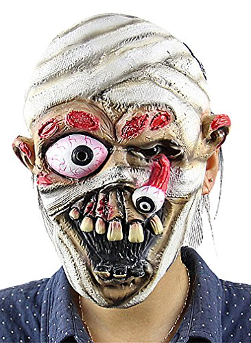 Maze Terrible Ancient Realistic Skull Skeleton Halloween Latex Full Face Mask, 1- One Size